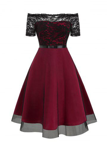 Lace Bodice Off The Shoulder Tulle Semi Formal Dress