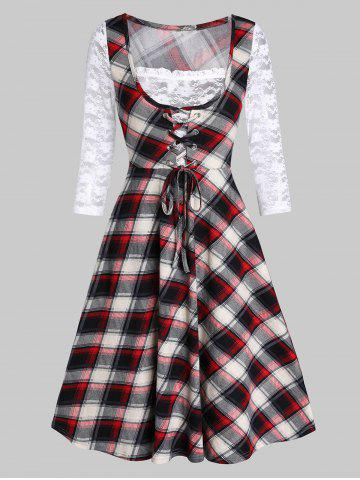 Lace Insert Checked Square Collar A Line Dress