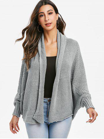 Batwing Sleeve Open Knit Open Front Cardigan
