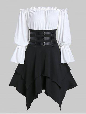Buckle Strap Lace-up Layered Handkerchief Skirt with Poet Sleeve Bardot Top
