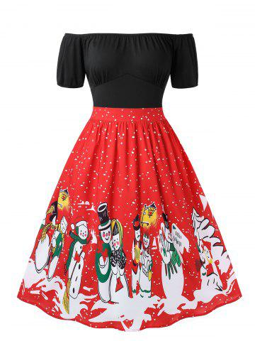 Plus Size Christmas Retro Off Shoulder Snowman Print Party Dress - RED - 5X