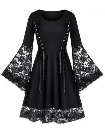 Plus Size Lace Up Flare Sleeve Skater Dress