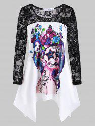 Plus Size Halloween Printed Lace Insert Handkerchief T Shirt -