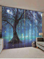 2 Panels Print Tree Glowworm Waterproof Window Curtains -