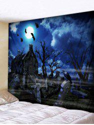 Halloween Tombstone Tree Printing Wall Tapestry -