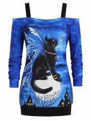Cold Shoulder Castle Halloween Cat Plus Size Sweatshirt -