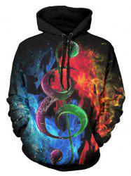 Music Note Water and Fire - Sweat à capuche en kangourou imprimé en 3D - Multi M