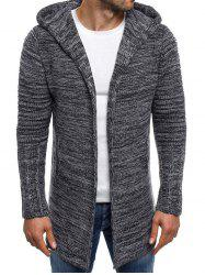 Open Front Long Hooded Cardigan -