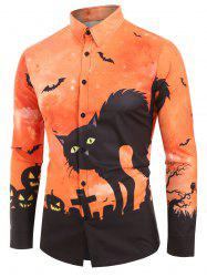 Halloween Cat Bat Print Long Sleeves Shirt -