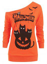 Skew Neck Bat Letter Cats Print Halloween Sweatshirt -