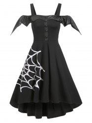 Halloween Spider Net Open Shoulder Dip Hem Dress -