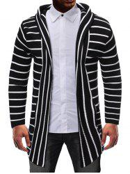 Striped Design Open Front Knitted Hooded Cardigan -