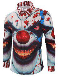 Halloween Clown Blood Star Print Hidden Button Shirt -
