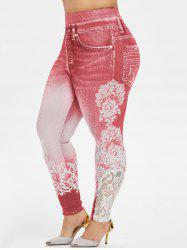Plus Size High Rise Lace Panel  3D Print Jeggings -