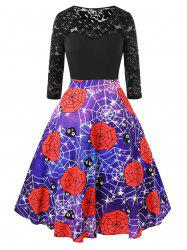 Plus Size Halloween Galaxy Spider Web Vintage Party Dress -