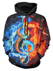 Music Note Fire 3D Print Drawstring Hoodie -