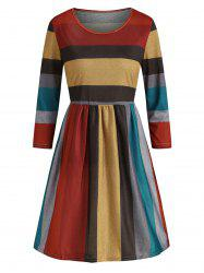 Contrast Striped Round Neck A Line Dress -