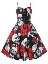 Plus Size Halloween Vintage Lace Up Skull Floral Print Party Dress -