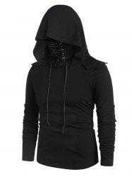 Kangaroo Pocket Lace-up Mask Pullover Hoodie -