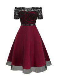 Lace Bodice Off The Shoulder Tulle Semi Formal Dress -