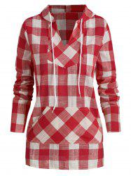 Plaid Kangaroo Pocket Casual Hoodie -