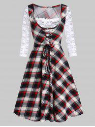 Lace Insert Checked Square Collar A Line Dress -