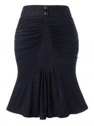 Plus Size Zippered Mermaid Ruched Skirt -