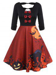 Vintage Bowknot Cut Out Halloween Printed Swing Dress -