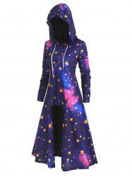 Plus Size High Low 3D Galaxy Long Hoodie -