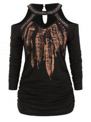 Metallic Feather Print Cold Shoulder Ruched Tee -