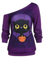 Tunic Animal Print Skew Collar Sweatshirt -