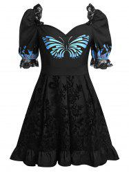 Plus Size Butterfly Print Sweetheart Neck Flounce Lace Insert Dress -