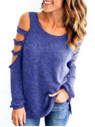 Ladder Cutout Long Sleeve Tunic Top -