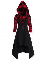 Convertible Hooded Plaid High Low Midi Dress -