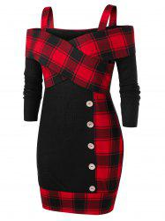 Plus Size Checked Panel Open Shoulder Tunic Sweater -