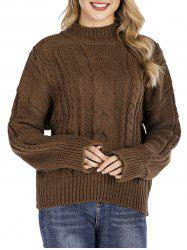 High Neck Cable Knit Chunky Sweater -