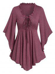 Lace-up Front Flare Sleeve Pointed Hem T-shirt -