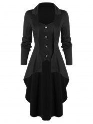 High Low Button Through Skirted Coat -
