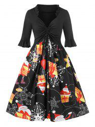 Plus Size Christmas Cinched Santa Claus Gift Print Party Dress -
