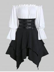 Buckle Strap Lace-up Layered Handkerchief Skirt with Poet Sleeve Bardot Top -