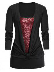 Plus Size Sequined Long Sleeve Twist T Shirt -