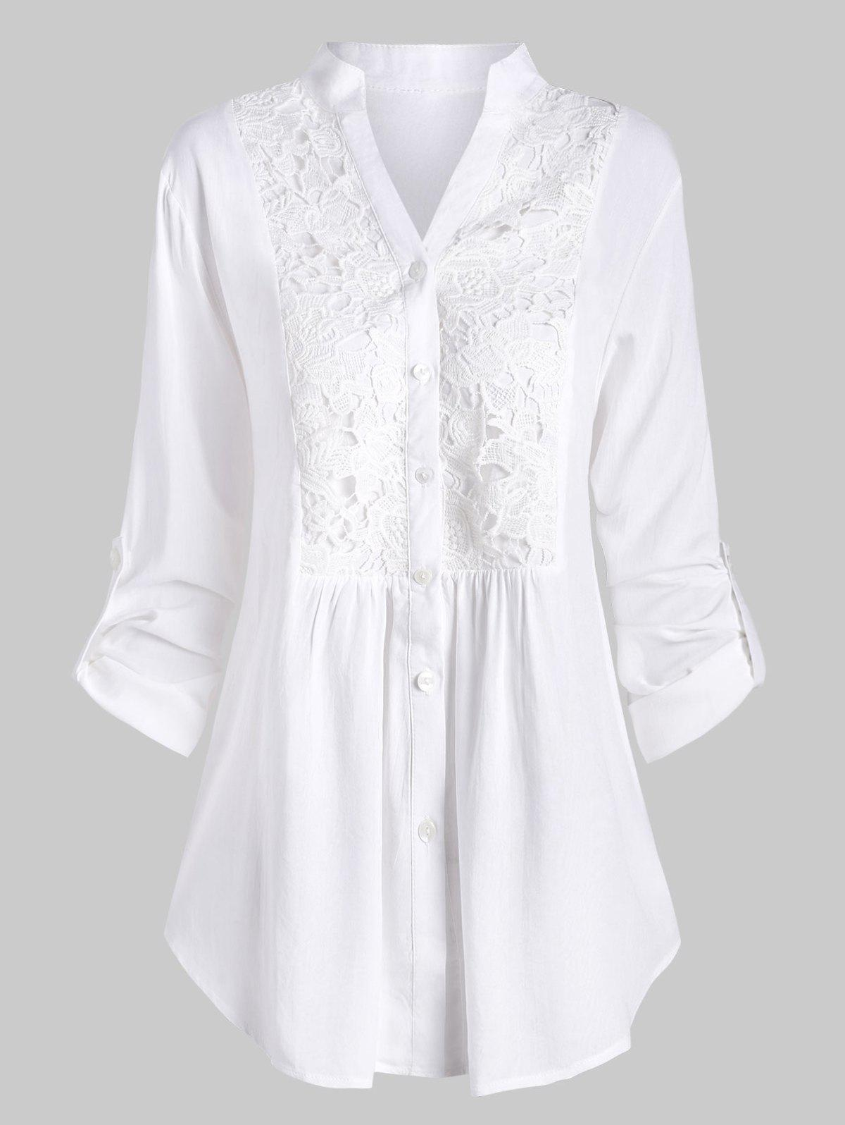 Affordable Plus Size Roll Up Sleeve Lace Crochet Shirt