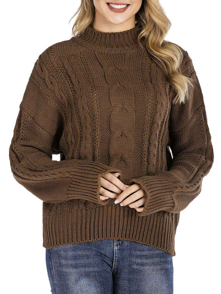 New High Neck Cable Knit Chunky Sweater