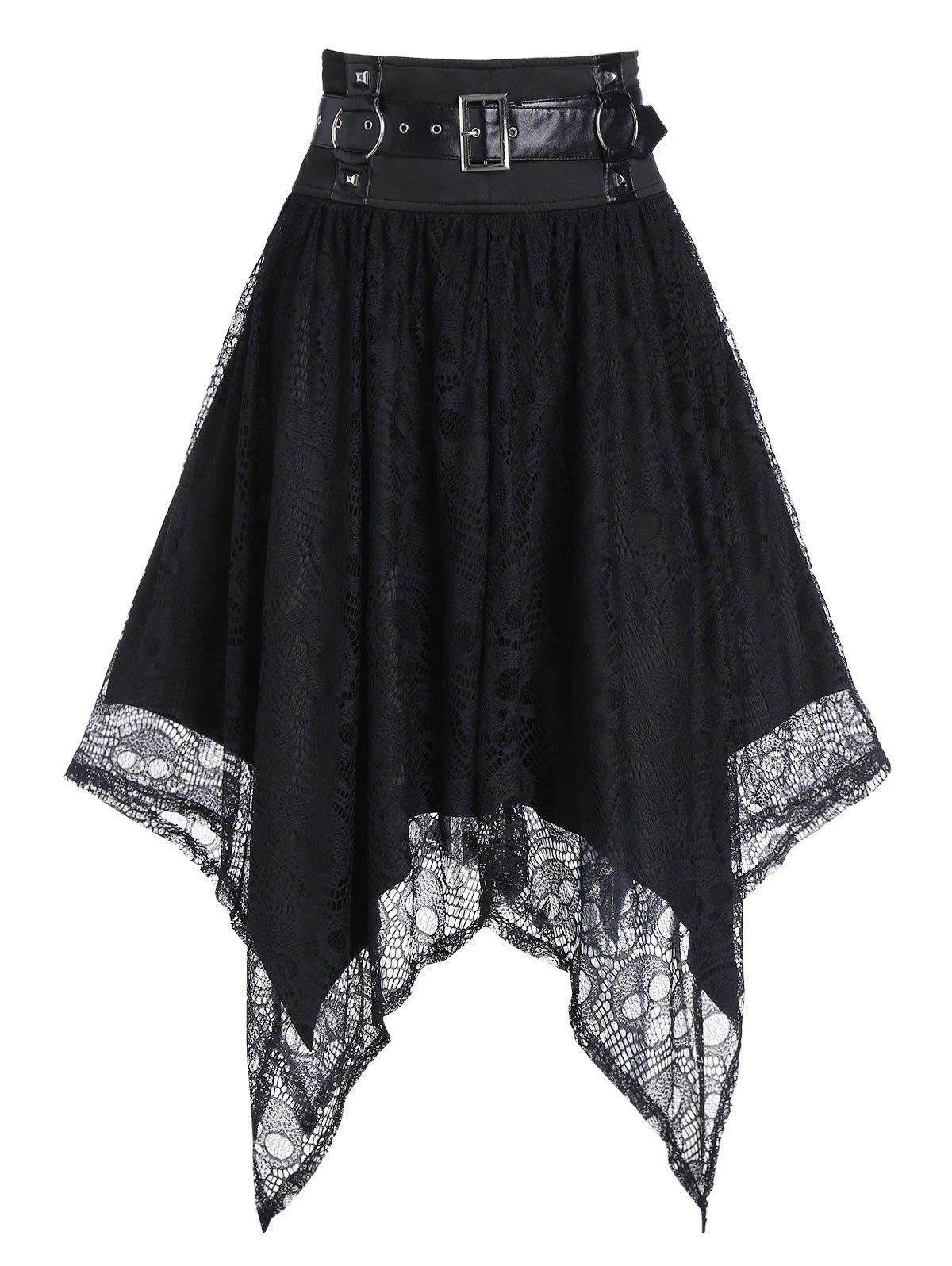 Outfit Harness Insert Halloween Skull Pattern Lace Handkerchief Gothic Skirt
