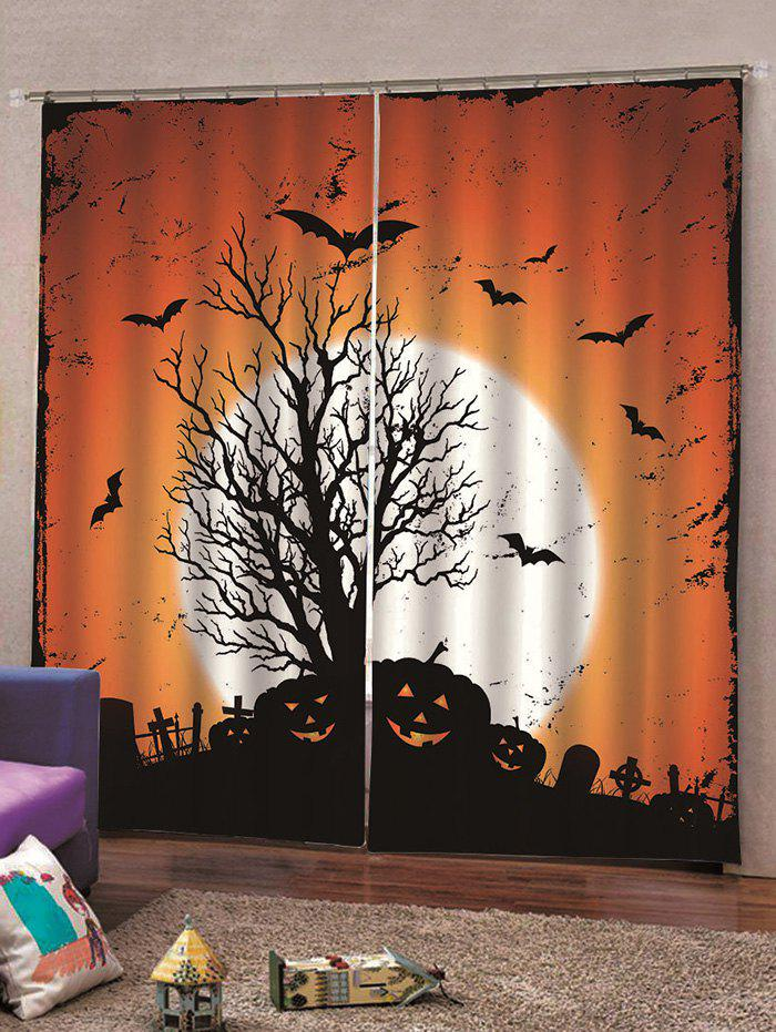Trendy 2PCS Halloween Pumpkin Bat Window Curtains