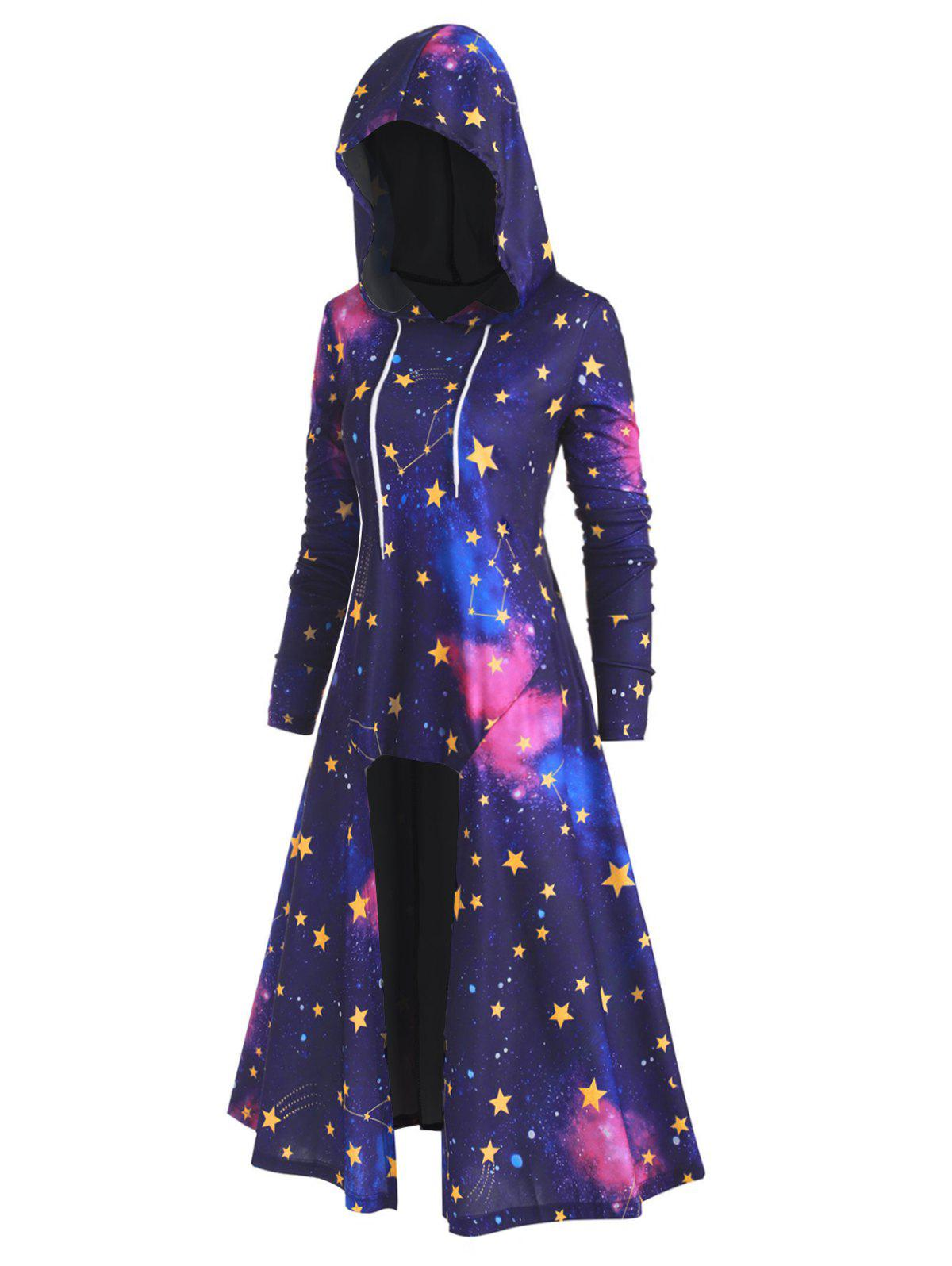Affordable Plus Size High Low 3D Galaxy Long Hoodie