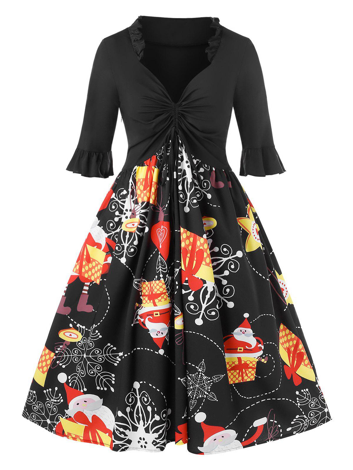 Unique Plus Size Christmas Cinched Santa Claus Gift Print Party Dress