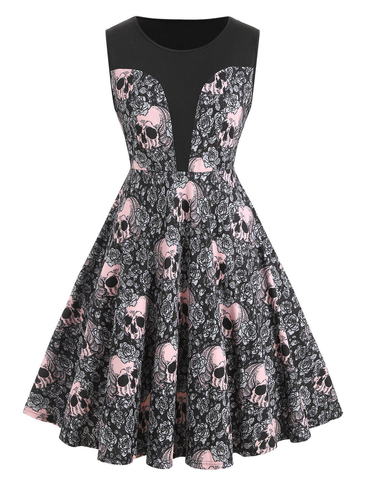 Plus Size Halloween Skull Floral Print Retro Party Dress