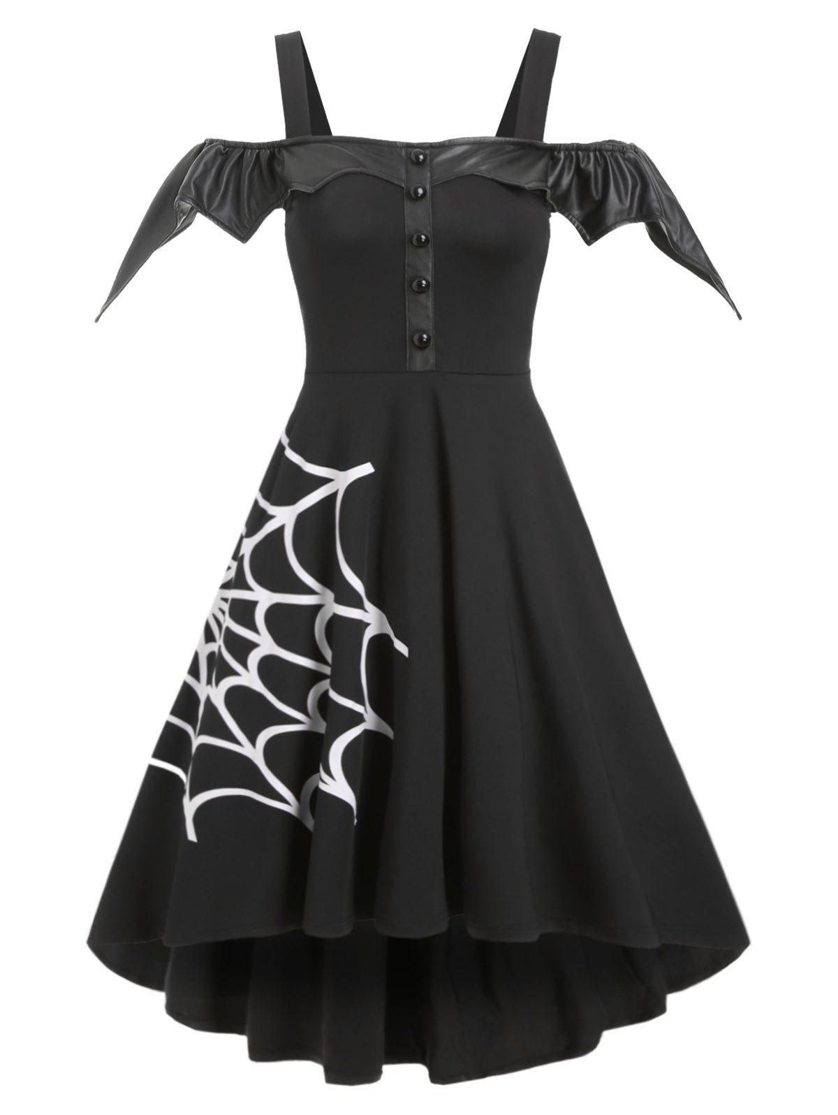Trendy Halloween Spider Net Open Shoulder Dip Hem Dress