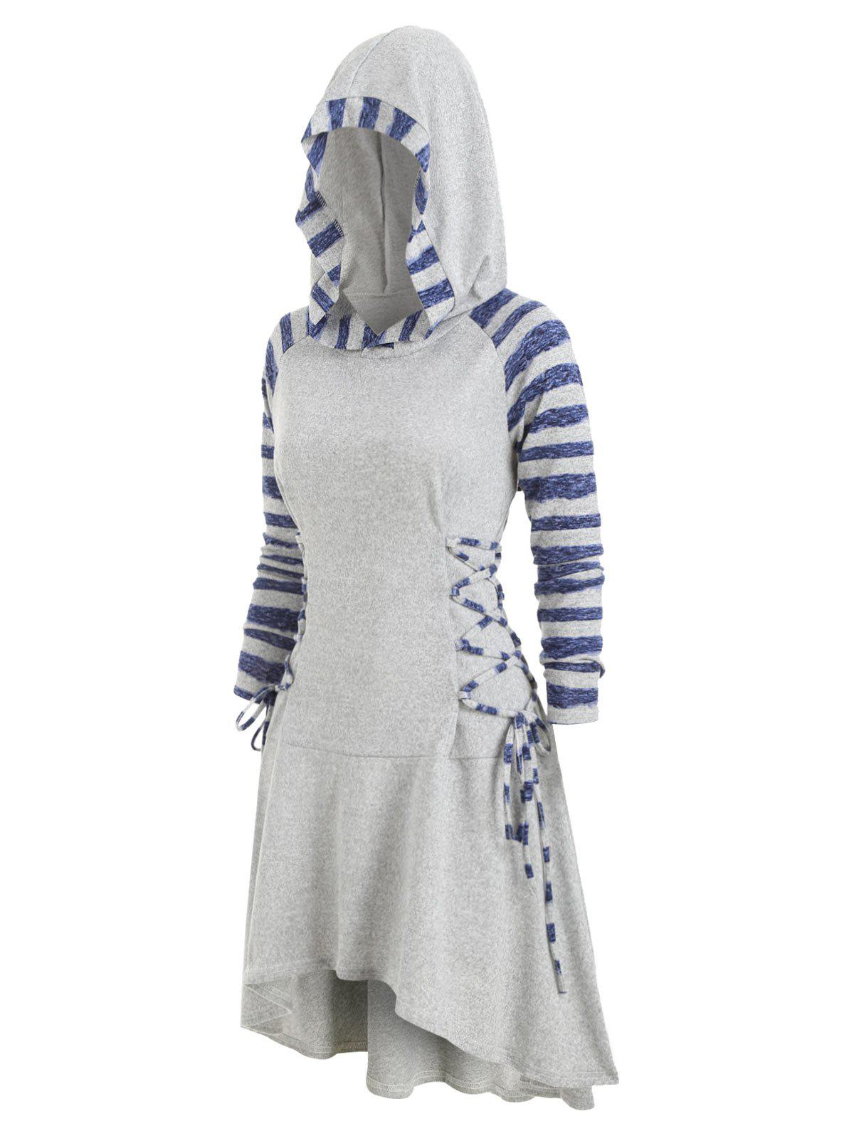 Best Striped Lace Up Raglan Sleeves Hooded Dress